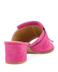 Neiman Marcus - Pink Osya Kiltie Slide Mule Fuchsia - Lyst
