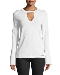 MICHAEL Michael Kors - White Flare-sleeve Keyhole Sweater - Lyst
