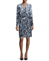 Kay Unger - Black Long-sleeve Floral-print Jersey Dress - Lyst