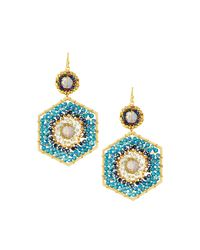 Nakamol - Blue Beaded Hexagon Drop Earrings - Lyst