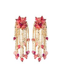 Lydell NYC - Pink Beaded Chain Tassel Earrings - Lyst