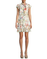 Alice + Olivia - White Leslie Tie-neck Floral-print Silk Ruffle Dress - Lyst