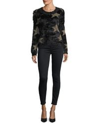 Haute Rogue - Black You're A Star Fuzzy Sweater - Lyst