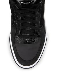 PUMA - Black Brace Mid-top Leather-trim Sneaker for Men - Lyst