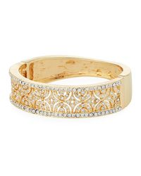 Kenneth Jay Lane - Metallic Wide Hinged Crystal Cuff Bracelet - Lyst