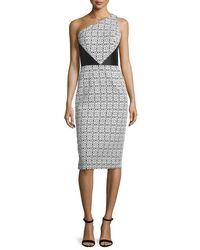 THEIA - Black One-shoulder Mixed-pattern Sheath Dress - Lyst