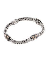 John Hardy   Metallic Jaisalmer Gold & Silver Four Station Bracelet   Lyst
