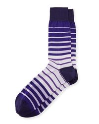 Bugatchi | Purple Striped Cotton-blend Socks for Men | Lyst