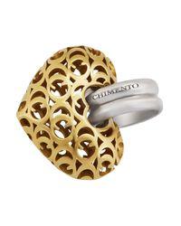 Chimento - Metallic 18k Two-tone Gold Logo Heart Pendant - Lyst