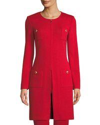 St. John - Red Santana-knit Jewel-neck Topper Jacket - Lyst