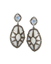 Bavna - Metallic Silver Overlay Drop Earrings With Diamonds & Rainbow Moonstone - Lyst
