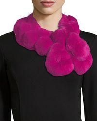 Adrienne Landau - Multicolor Fur Pompom Pull-through Scarf - Lyst