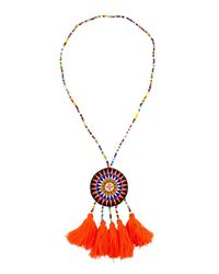 Panacea - Metallic Long Seed Bead Necklace W/ Embroidered Circle Pendant - Lyst