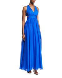 Aidan Mattox - Blue Shirred Silk Chiffon Cutout Gown - Lyst