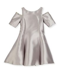 Zoe - Metallic Emme Cold-shoulder Fit-and-flare Dress - Lyst