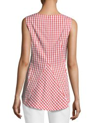 Lafayette 148 New York - Orange Melina Gingham Sleeveless Top - Lyst