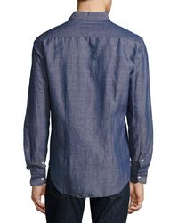 Culturata | Blue Melange Linen Sport Shirt for Men | Lyst