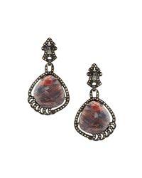Bavna - Multicolor Brownish-red Sapphire & Diamond Drop Earrings - Lyst