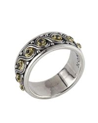 Konstantino - Metallic Asteri Ornate Scrollwork Band Ring W/ Black Diamonds - Lyst