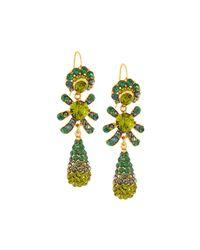 Jose & Maria Barrera - Green Golden Pave Crystal Triple-drop Earrings - Lyst