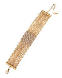 Fragments - Metallic Pavé Clear Crystal Bracelet - Lyst