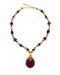 Jose & Maria Barrera - Purple Long Beaded Pendant Necklace - Lyst