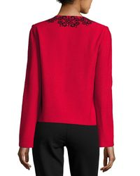 St. John - Scroll-embroidered Crinkle-knit Zip-front Jacket - Lyst