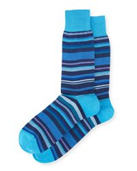 Bugatchi - Blue Men's Stripped Pattern Socks for Men - Lyst