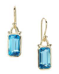 Elizabeth Showers - Green Deco Emerald-cut Topaz Earrings In 18k Gold - Lyst