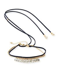 Lydell NYC - Multicolor Crystal Choker W/ Adjustable Suede Ties - Lyst