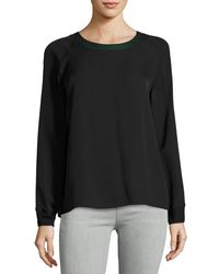 Vince - Gray Stretch Rim Trim Sweatshirt - Lyst