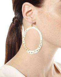 Ashley Pittman - White Mzima Studded Oval Drop Earrings - Lyst