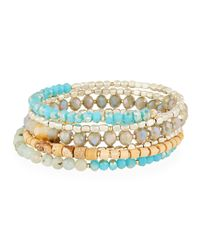 Nakamol - Blue Amazonite Crystal Wrap Stretch Bracelet - Lyst