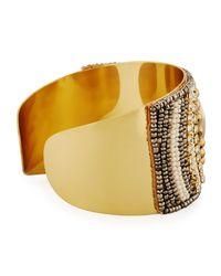 Nakamol - Brown Beaded Statement Cuff Bracelet - Lyst