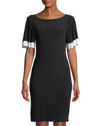 Neiman Marcus - Black Flared-sleeve Jersey Dress - Lyst
