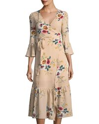 Haute Rogue - Natural Gaby Floral-print Wrap Dress - Lyst
