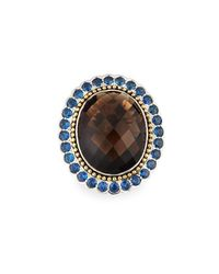 Lagos - Brown Smoky Quartz Ring With Blue Sapphire Halo Size 7 - Lyst