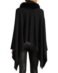 Neiman Marcus Black Fur-trim Cashmere-blend Poncho