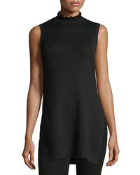 Laundry by Shelli Segal - Black Sleeveless High-neck Ribbed Tunic - Lyst