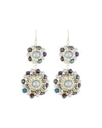 Nakamol - Gray Crystal & Pearl Double-circle Drop Earrings - Lyst