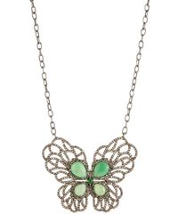 Bavna - Metallic Mixed Butterfly Pendant Necklace - Lyst