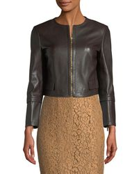 Michael Kors - Brown Collarless Lamb Leather Jacket - Lyst