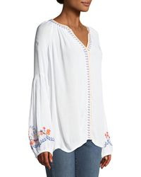 Catherine Malandrino - White Embroidered-trim Peasant Blouse - Lyst
