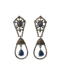 Bavna - Metallic Silver Double-drop Earrings With Blue Sapphire & Diamonds - Lyst