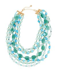 Lydell NYC - Blue Multi-row Beaded Necklace Teal - Lyst
