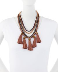 Lydell NYC - Brown Beaded Multi-drop Necklace - Lyst