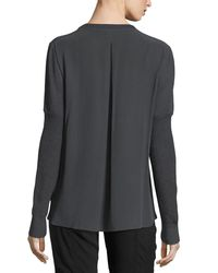 Go> By Go Silk - Gray Thermal-stitched Silk-back Sweater - Lyst