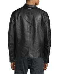 Marc New York - Black Distressed Faux-leather Moto Jacket for Men - Lyst