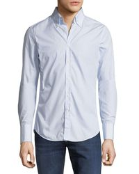 Brunello Cucinelli - Blue Men's Italian-fit Striped Sport Shirt for Men - Lyst