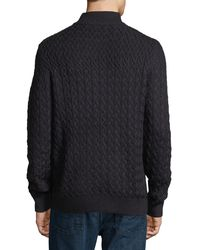 Neiman Marcus - Black Wool-blend Cable-knit Zip-front Cardigan for Men - Lyst